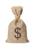 Bag with dollars. Royalty Free Stock Photo