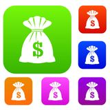 Bag with dollars set collection Royalty Free Stock Image