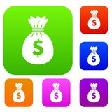 Bag with dollars set collection Royalty Free Stock Photos