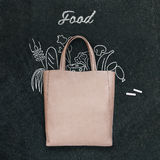 Bag with drawn food on a chalkboard royalty free illustration