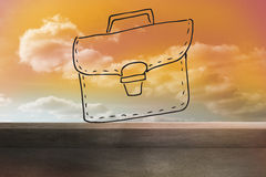 Bag drawn on orange sky Royalty Free Stock Image