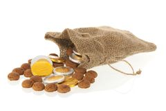 Dutch ginger nuts and chocolate coins for Sinterklaas Stock Images