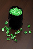 Bag of emeralds Royalty Free Stock Image