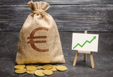 Bag with euro money and green arrow up on the chart. Success, achieving good results. The concept of increasing profits. And revenues, increasing capital and royalty free stock image
