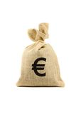 Bag with euro sign. Brown bag with euro sign. Isolated on white Royalty Free Stock Image