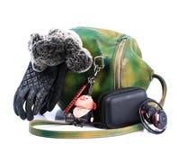 Bag female, gloves , headphones stock photo