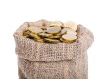 Bag filled with coins. Stock Images