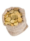 Bag filled with coins. Stock Image