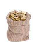 Bag filled with coins. Stock Photography