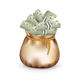 Bag filled with money isolated on white Royalty Free Stock Photo
