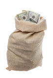 Bag filled with US Dollars Royalty Free Stock Photography