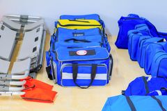 Bag First aid kit blue for assist patient in emergency rescue situation.  Stock Photography