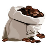 Bag with flavored coffee beans. Vector isolated Stock Photos