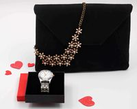 Bag with flower pendant stock photos