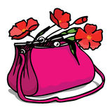 Bag with flowers. Fuchsia bag with spring flowers vector illustration