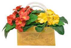 Bag with Flowers (Path Included) Royalty Free Stock Photo