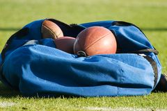 Bag of Footballs. On a football field Royalty Free Stock Photos