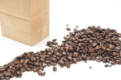 Bag of fresh coffee beans Royalty Free Stock Image