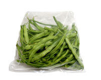 Bag with fresh green beans Stock Image
