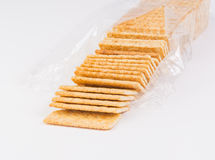 Bag of fresh organic whole grain crackers. Royalty Free Stock Photos