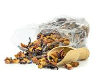 A bag of fresh tea leaves Royalty Free Stock Photo