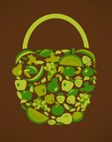 Bag with fruits and vegetables pattern Royalty Free Stock Photography