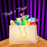 Trick-or-treat. Paper Bag full of goodies, sweets and candies. Walls and floor as background. Halloween vector poster. Stock Photography