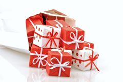 Bag full of christmas presents Royalty Free Stock Photo