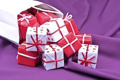 Bag full of christmas presents Stock Image