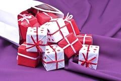 Bag full of christmas presents Stock Image