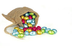 Bag full of easter chocolate eggs Royalty Free Stock Photography