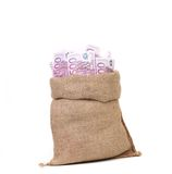Bag full with of euro bills. Royalty Free Stock Image