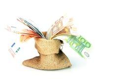 Bag full of euro moneyvnotes Stock Image