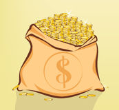 Bag full of gold coins with dollar sign vector illustration Royalty Free Stock Photos