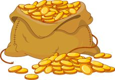 Bag full of golden coin Stock Images