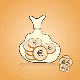 Bag full of golden coin Royalty Free Stock Image