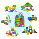 Bag full of Lego bricks, wooden cubes and magnetic figures for preschool childrens. Building tower, castle, house and royalty free illustration