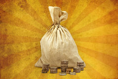 Bag full of money. On bright yellow background Royalty Free Stock Images