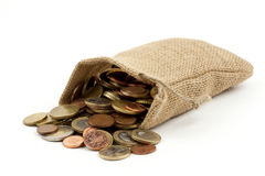 A bag full of money. On white ground royalty free stock photography