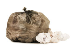 Bag with garbage isolated ove the white Royalty Free Stock Image