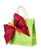 Bag for gift with bow Royalty Free Stock Image