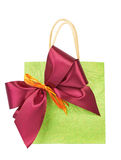 Bag for gift with bow Royalty Free Stock Photos