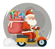 Bag Gift Box Santa Claus Delivery Courier Scooter Symbol Box Icon Concept Isolated Cartoon Flat Design Vector. Bag Gift Box Santa Claus Delivery Scooter Courier Royalty Free Stock Image