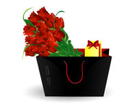 Bag  gift and roses Stock Photo
