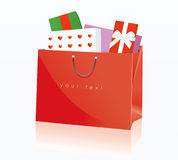 Bag of gifts. Illustration of bag of gifts isolated on white Stock Photography