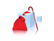 Bag with the gifts. Santa`s bag with the gifts against the white background Stock Image