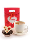 Bag for gifts with coffee and muffin Royalty Free Stock Photos