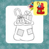 Bag with gifts. Coloring page Royalty Free Stock Images