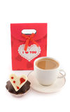 Bag for gifts with muffin and coffee Stock Images