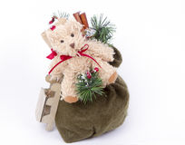 Bag with gifts Santa Claus. Bear, sledge. gifts. Children's joy and dreams. White background Royalty Free Stock Photography